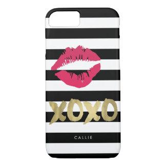 Coque iPhone 7 Rayure noire et blanche d'impression rose de lèvre