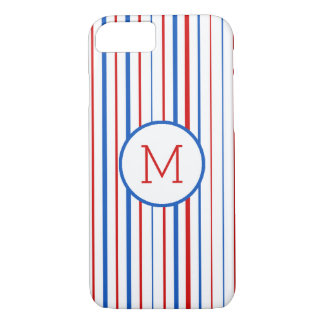 Coque iPhone 7 Rayures américaines bleues et blanches rouges