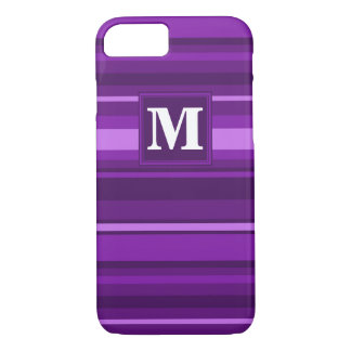 Coque iPhone 7 Rayures de pourpre de monogramme