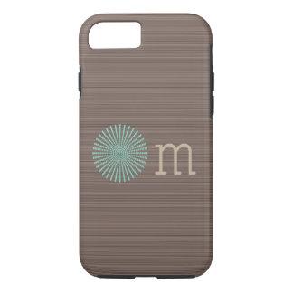 Coque iPhone 7 Rayures en bois de brun de grain de turquoise de