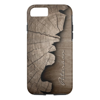 Coque iPhone 7 Regard du bois rustique antique de grain - nom de