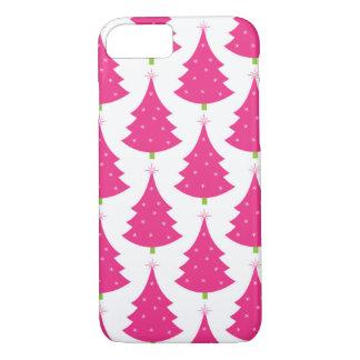 Coque iPhone 7 Rétro motif assez rose d'arbre de Noël