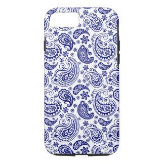 Coque iPhone 7 Rétro motif bleu et blanc de jambon de Paisley