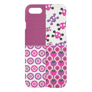 Coque iPhone 7 Rétro point de polka de crâne de fleur
