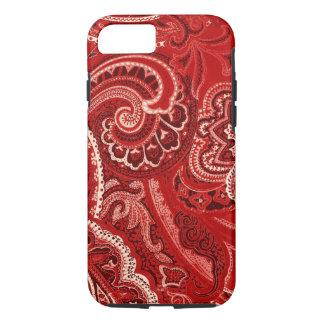 Coque iPhone 7 Rétros bandanna/Bandana rouges de Paisley