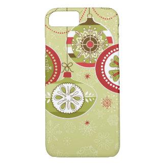 Coque iPhone 7 Rétros ornements verts et rouges de Noël