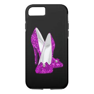 Coque iPhone 7 Rose de scintillement de Stileto de chaussures de