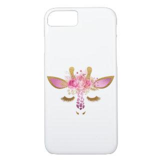 Coque iPhone 7 Rose et cas de téléphone de girafe d'or