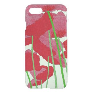 Coque iPhone 7 Rouge de conception d'aquarelle de pavots et vert