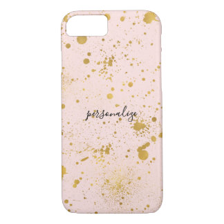 Coque iPhone 7 Rougissent les éclaboussures roses d'or