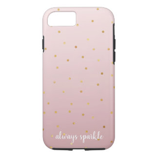 Coque iPhone 7 Rougissent l'étincelle de confettis d'or d'Ombre