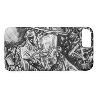 Coque iPhone 7 Sapeur-pompier - courage - dessin de fusain