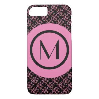 Coque iPhone 7 Saumon élégant et monogramme initial parisien rose