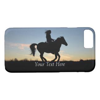 Coque iPhone 7 Silhouette de cheval et de cavalier personnalisée