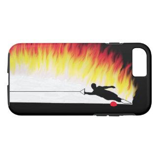 Coque iPhone 7 Skieur de l'eau de slalom avec des flammes