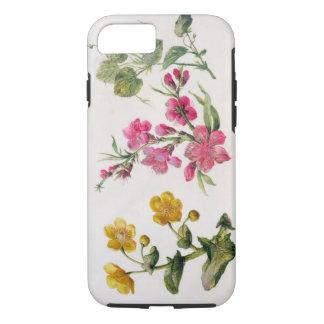 Coque iPhone 7 Souci de marais, cognassier du Japon, violette (la