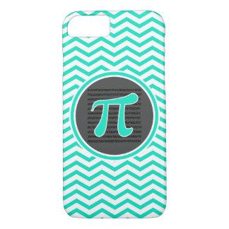 Coque iPhone 7 Symbole de pi ; Aqua Chevron vert