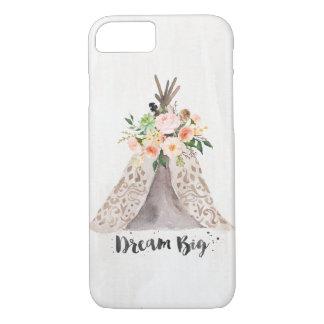 Coque iPhone 7 Teepee chic et arrangement floral d'aquarelle de
