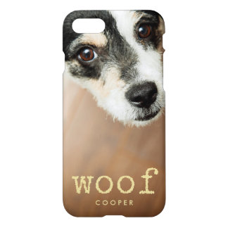 Coque iPhone 7 Texte vintage de machine à écrire d'or de Woof