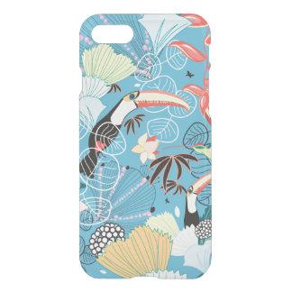Coque iPhone 7 Texture tropicale avec des toucans et des colibris