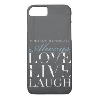 Coque iPhone 7 Toujours amour, vivant, rire - couverture grise