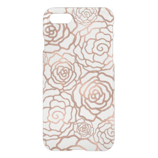 Coque iPhone 7 Trellis floral de feuille d'or rose de Faux clair