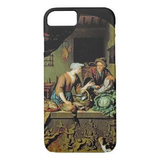 Coque iPhone 7 Une femme et un marchand ambulant de poissons,
