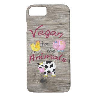 """Coque iPhone 7 """"Végétalien pour les animaux"""" avec le porc, la"""