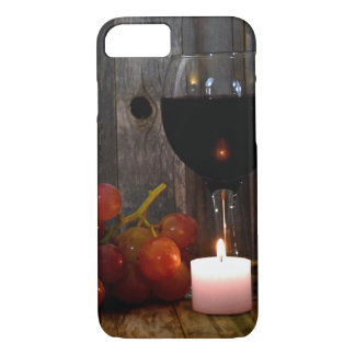Coque iPhone 7 verre et bougie de vin avec des raisins
