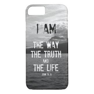 Coque iPhone 7 Vers de bible : Je suis la manière, vérité, la vie