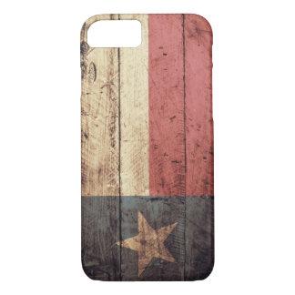Coque iPhone 7 Vieux drapeau en bois du Texas ;