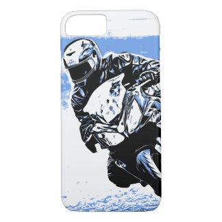 Coque iPhone 7 Vitesse de moto dans le bleu