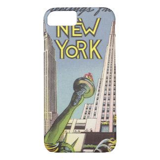 Coque iPhone 7 Voyage vintage, points de repère célèbres de New