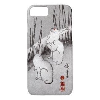 Coque iPhone 8/7 月に兎, lune de 広重 et lapins, Hiroshige, Ukiyo-e