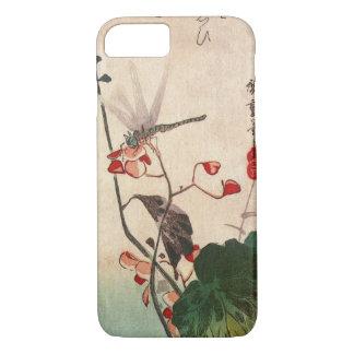 Coque iPhone 8/7 花にトンボ, libellule de 広重 et fleur, Hiroshige,