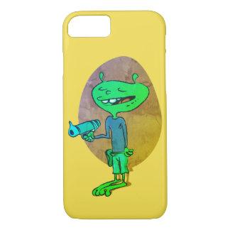 Coque iPhone 8/7 alien drôle avec la bande dessinée d'arme à feu de