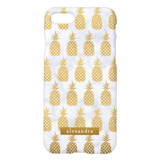 Coque iPhone 8/7 Ananas chics d'or sur le marbre blanc