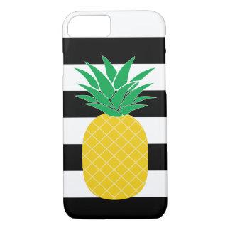 Coque iPhone 8/7 Ananas rayé noir et blanc tropical
