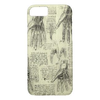 Coque iPhone 8/7 Anatomie de la main humaine par Leonardo da Vinci