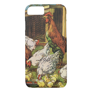Coque iPhone 8/7 Animaux de ferme vintages, coq, poules, poulets