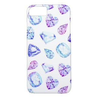 Coque iPhone 8/7 Aquarelle bleue et violette de cristaux de diamant