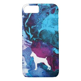 Coque iPhone 8/7 Aquarelle de chien de boxeur dans les bleus et les