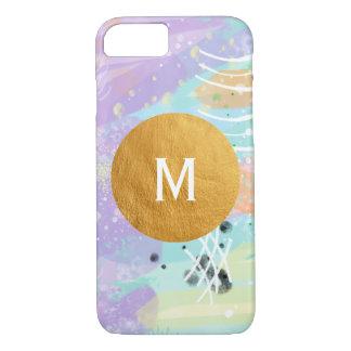 Coque iPhone 8/7 Aquarelle de Digitals peignant le monogramme en