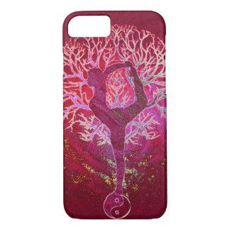 Coque iPhone 8/7 Arbre de yoga - rouge, rose, or