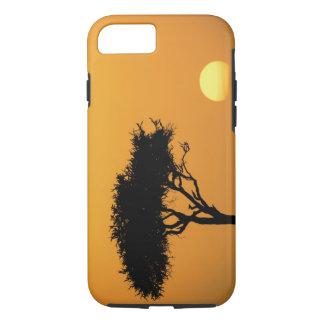 Coque iPhone 8/7 Arbre simple d'acacia silhouetté au lever de