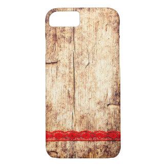 Coque iPhone 8/7 Arrière - plan en bois de texture. Ruban rouge.