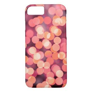 Coque iPhone 8/7 Arrière - plan vintage de lumières de Noël. Rouge
