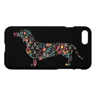 Coque iPhone 8/7 Art floral d'aquarelle de motif de chien de
