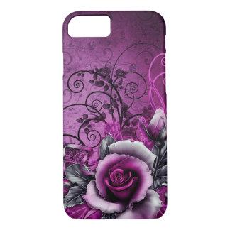 Coque iPhone 8/7 art grunge vintage de remous de vecteur de rose de