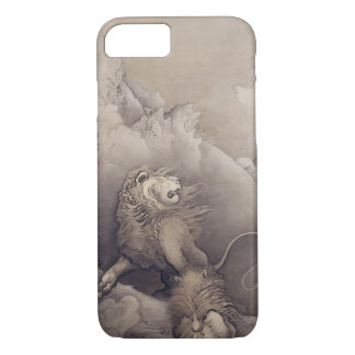 Coque iPhone 8/7 Art japonais vintage d'animal de lion